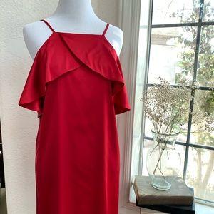 Lulus Spice Dark Red Satin Dress Spaghetti Strap